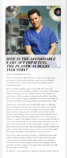 Dr. Gary Motykie on the Impact of Affordable Care Act on Plastic Surgeons